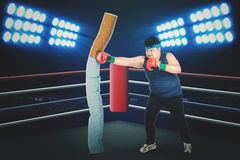 Overweight man is fighting with a cigarette. Overweight male wearing red boxing gloves while fighting with a cigarette in the boxing ring Royalty Free Stock Photos