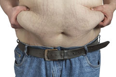 Overweight Man ipinching belly fat. Overweight Man pinching his belly fat isolated on white backgound Royalty Free Stock Image