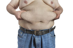 Overweight Man ipinching belly fat Stock Images