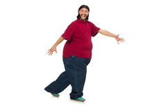 Overweight man isolated on the white Royalty Free Stock Images