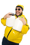 The overweight man isolated on the white Stock Photo