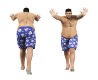 Overweight Man Pushing Front Back Royalty Free Stock Image
