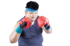 Overweight man ready to boxing 1 Royalty Free Stock Image