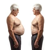 Overweight man and regular weight man over white Royalty Free Stock Images