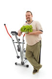 Overweight man's healthy choices. Power plan for fittness - overweight man's healthy choices, exercise and fresh food - isolated Stock Photos