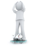Overweight. Man with overweight on a scales 3D render Stock Photos