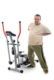 Overweight man stretching his back Stock Photo