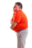 Overweight man with strong stomach pain Royalty Free Stock Photography