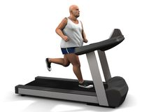 Overweight man on the treadmill Royalty Free Stock Photos