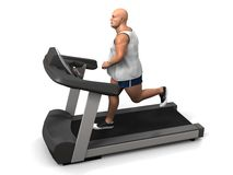 Overweight man on the treadmill Stock Photos