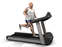 Overweight man on the treadmill Stock Photography