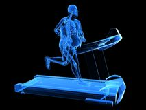 Overweight man on the treadmill. 3d rendered illustration of a overweight man running on the treatmill Stock Images