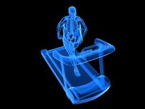 Overweight man on the treadmill. 3d rendered illustration of a transparency overweight man running on the treatmill Royalty Free Stock Photos