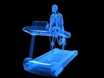 Overweight man on the treadmill. 3d rendered illustration of a transparency overweight man on the treatmill Stock Photo