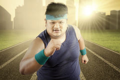 Overweight man workout in the morning Stock Image