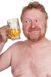 Overweight middle aged man with drinking beer Stock Photo