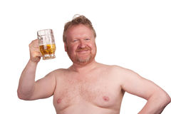 Overweight middle aged man with drinking beer Stock Images