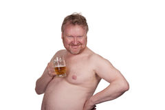 Overweight middle aged man with drinking beer Royalty Free Stock Photography