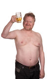 Overweight middle aged man with drinking beer Stock Image