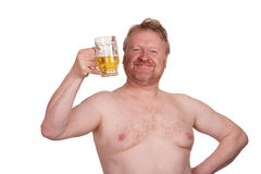 Overweight middle aged man with drinking beer Royalty Free Stock Image