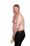 Overweight middle aged man with glass of beer Stock Photo