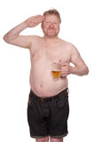 Overweight middle aged man with glass of beer Royalty Free Stock Images