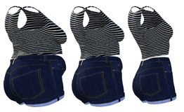Overweight obese female clothes outfit vs slim fit healthy body. Conceptual fat overweight obese female clothes outfit vs slim fit healthy body after weight loss stock illustration