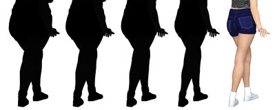 Overweight obese female vs slim fit healthy body. Conceptual fat overweight obese female vs slim fit healthy body after weight loss or diet with muscles thin Royalty Free Stock Photos