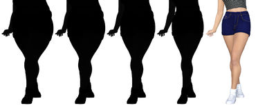 Overweight obese female vs slim fit healthy body. Conceptual fat overweight obese female vs slim fit healthy body after weight loss or diet with muscles thin Stock Photo
