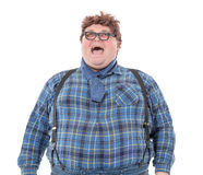 Overweight obese young man. Overweight obese country yokel, on white background Royalty Free Stock Photos