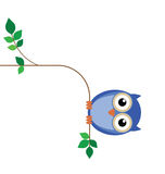 Overweight owl. Sat on a thin tree branch stock illustration