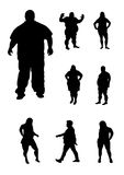 Overweight people. Illustration of overweight people silhouettes royalty free illustration