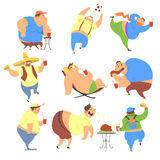 Overweight People. Vector Set Stock Photo
