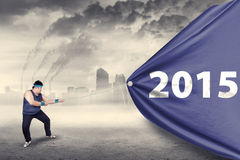 Overweight person with banner under air pollution Royalty Free Stock Photo