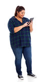 Overweight student tablet Stock Photography