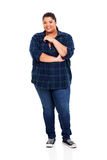 Overweight teen girl. Portrait of smiling overweight teen girl royalty free stock image