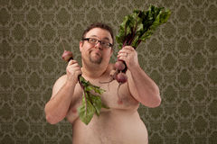 Overweight white male making healthy choices Stock Photo