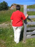 Overweight woman. In rural landscape Stock Photography