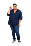 Overweight woman apple Stock Image