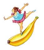 Overweight woman on banana Stock Photos