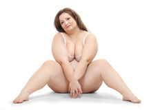Overweight woman. Overweight woman dressed in bikini Royalty Free Stock Photography