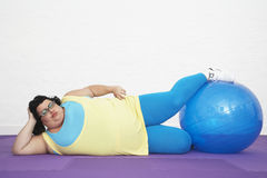 Overweight Woman With Exercise Ball Royalty Free Stock Photo