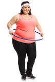 Overweight woman with a hula-hoop Stock Photos
