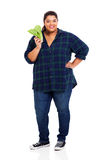 Overweight woman lettuce Stock Photos