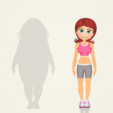 Overweight woman lifestyle changes Royalty Free Stock Photo