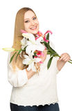 Overweight woman lillies bouquet Stock Images