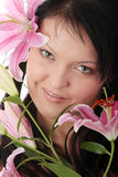 Overweight woman with lily flower Stock Photo