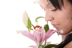 Overweight woman with lily flower Royalty Free Stock Photo
