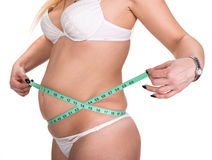 Overweight woman measuring waistline Royalty Free Stock Images