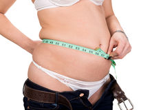 Overweight woman measuring waistline Stock Photo